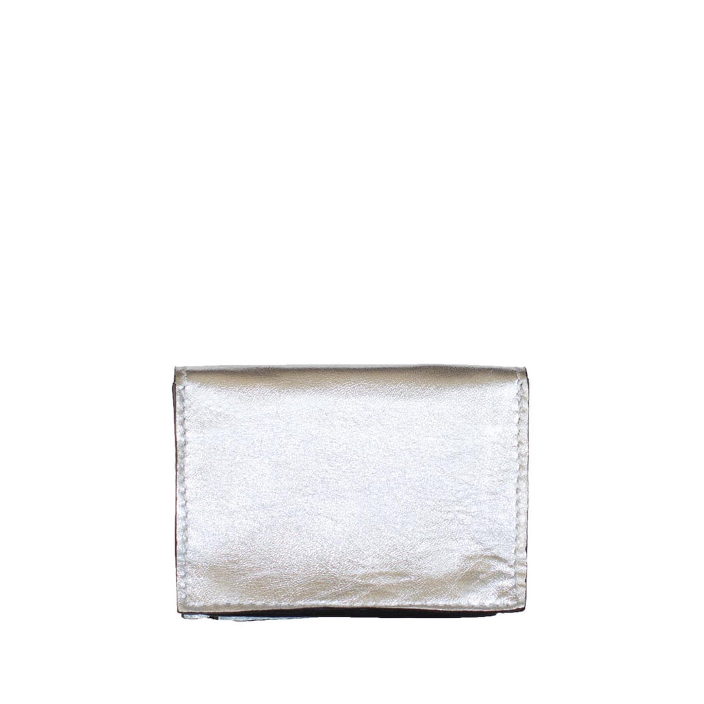Back View Silver Leather Card Holder Wallet - Card Holders - ABURY Collection