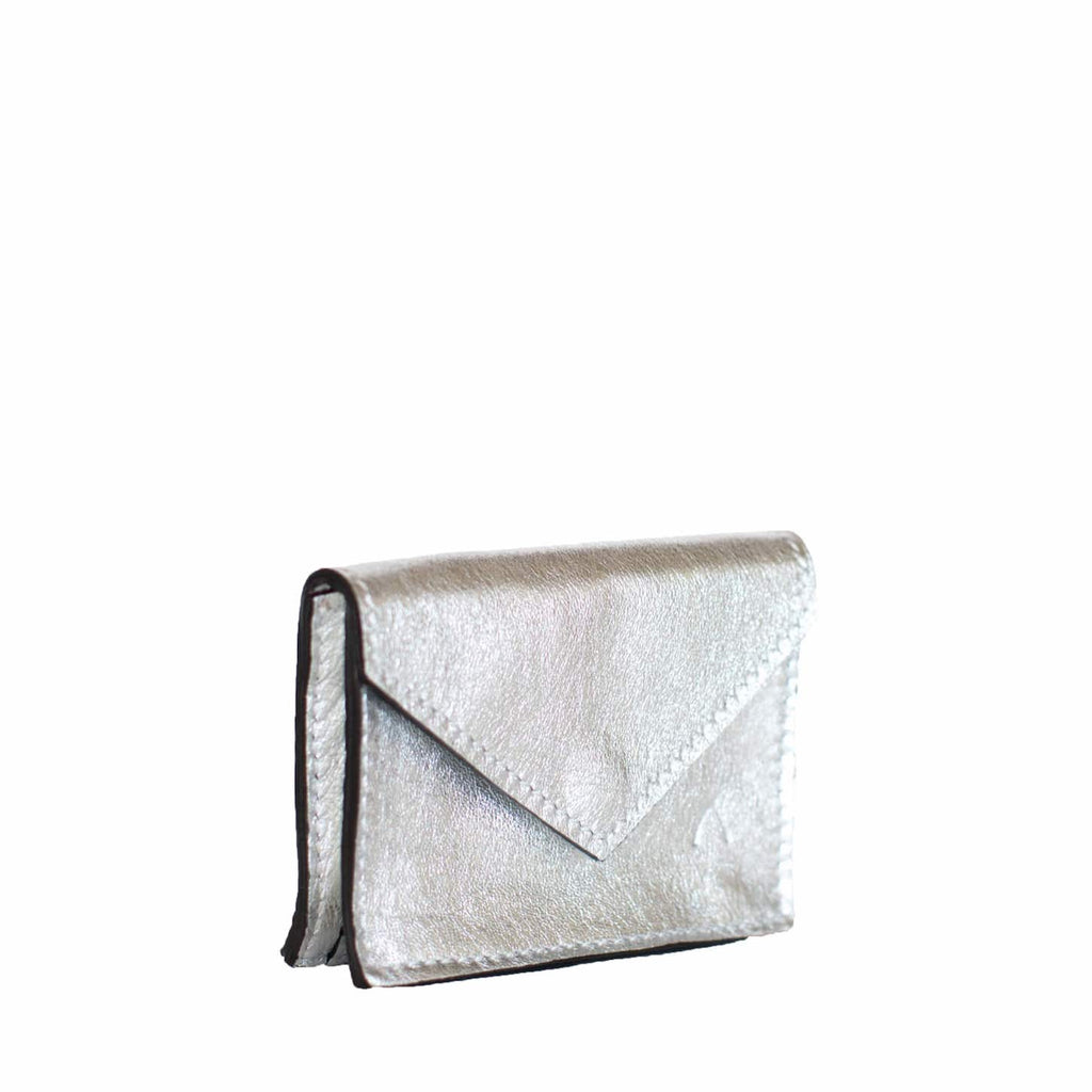 Side View Silver Leather Card Holder Wallet - Card Holders - ABURY Collection