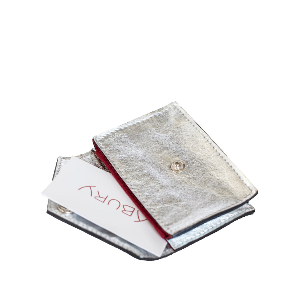 Open View Silver Leather Card Holder Wallet with ABURY card- Card Holders - ABURY Collection