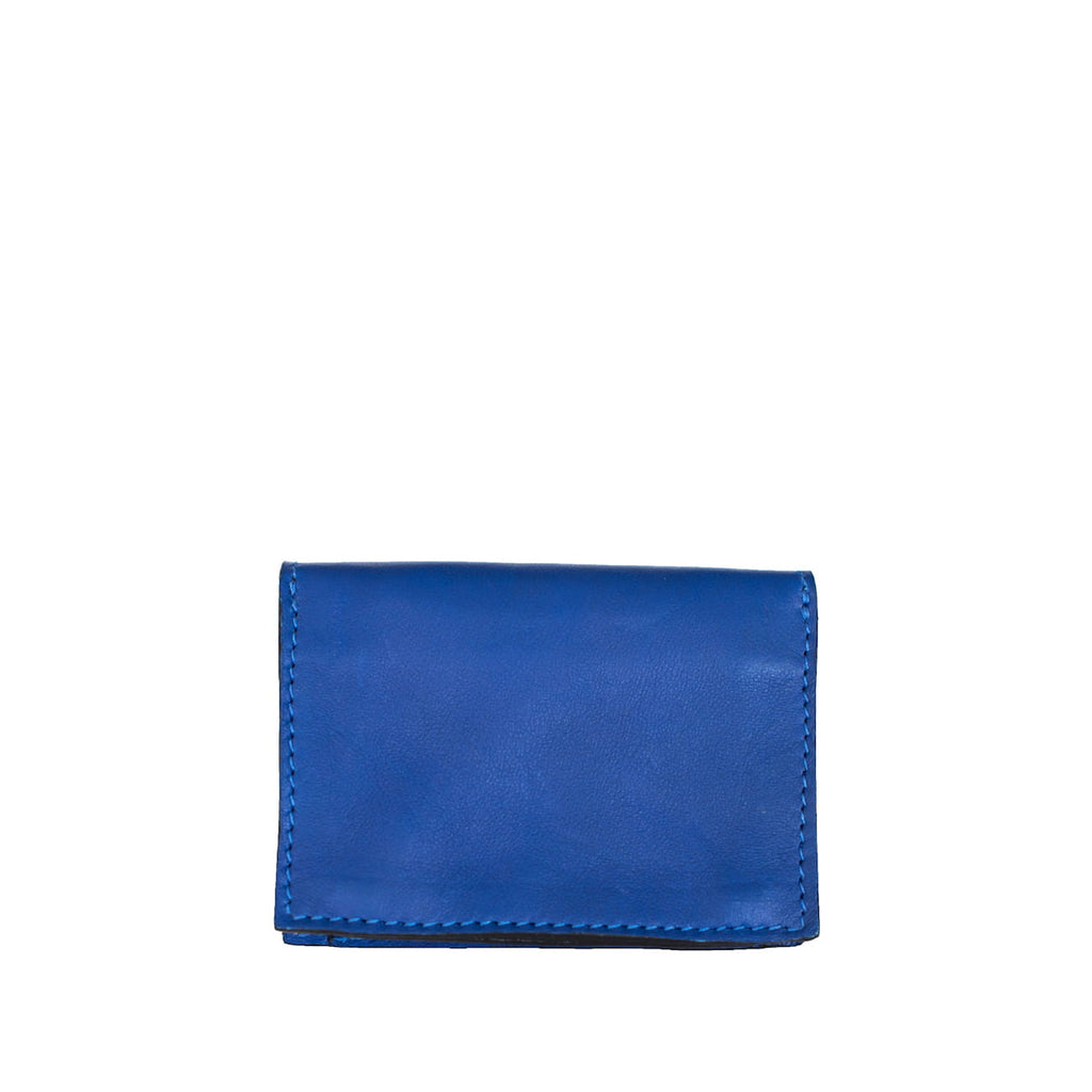 Back View Blue and Yellow Leather Business Card Holder