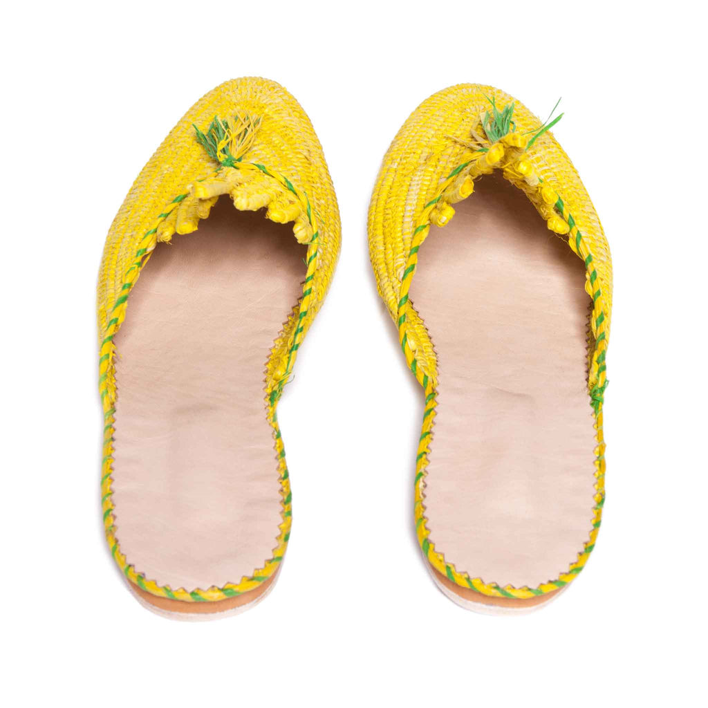 top view abury yellow and green raffia summer slippers with tassel