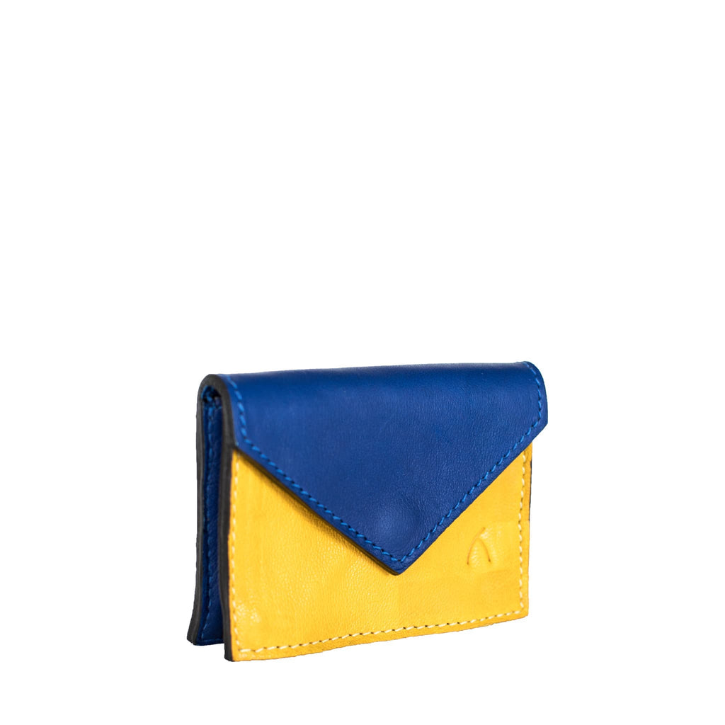Front View Blue and Yellow Leather Business Card Holder