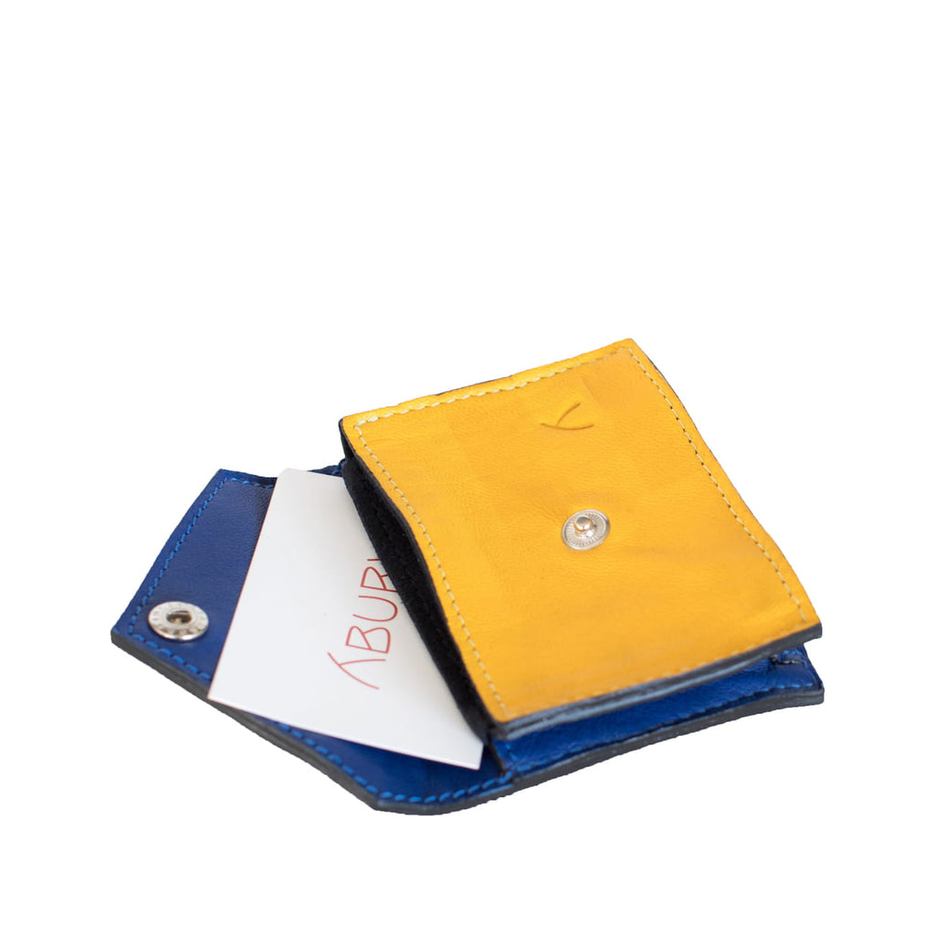 Open View Blue and Yellow Leather Business Card Holder with ABURY card