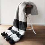 Black and Grey Wool Throw - Throws - ABURY Collection