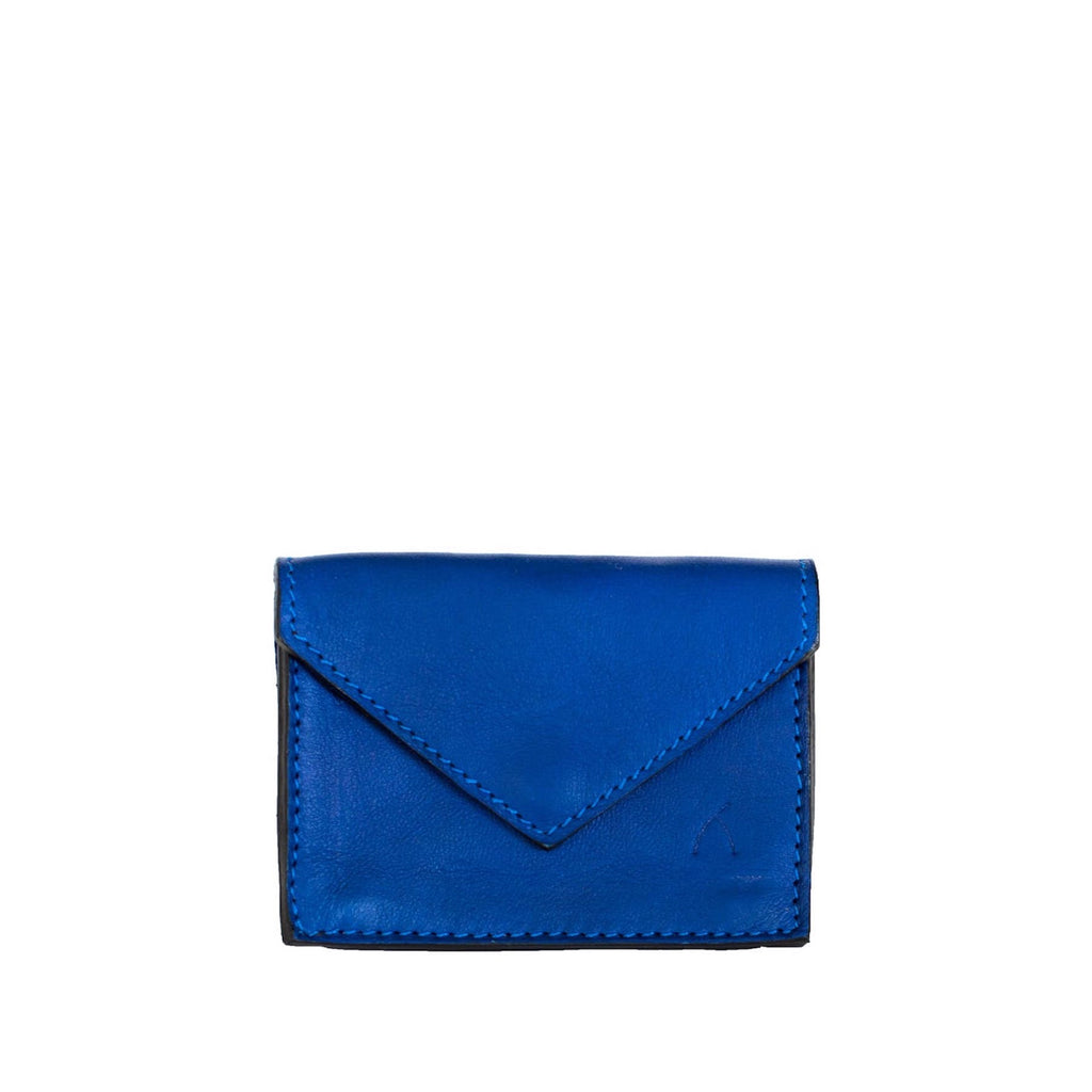 Front View Blue Leather Business Card Holder - Card Holders - ABURY Collection