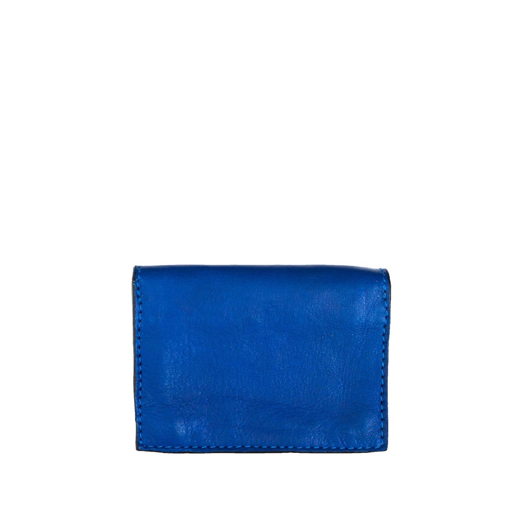 Back View Blue Leather Business Card Holder - Card Holders - ABURY Collection