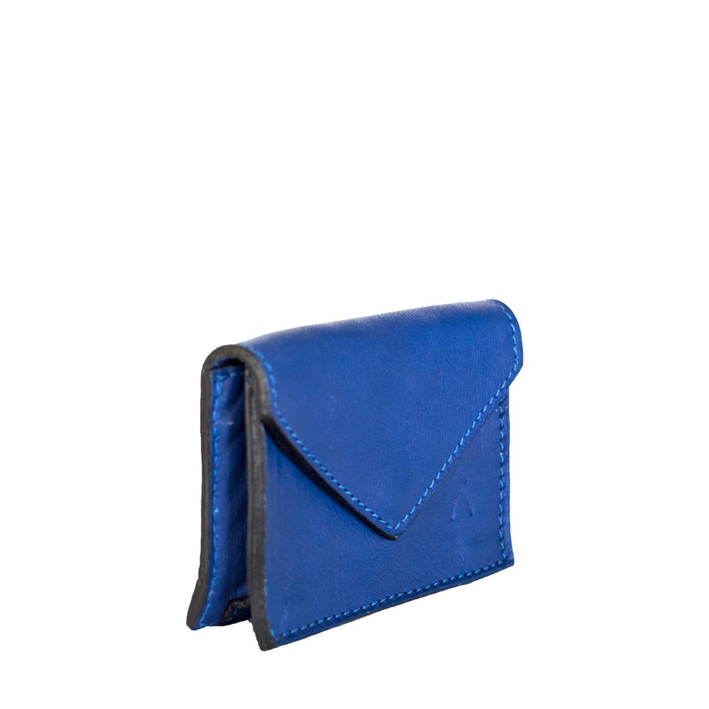 Side View Blue Leather Business Card Holder - Card Holders - ABURY Collection