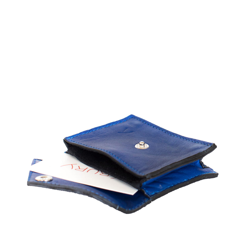 Open View Blue Leather Business Card Holder with ABURY card - Card Holders - ABURY Collection