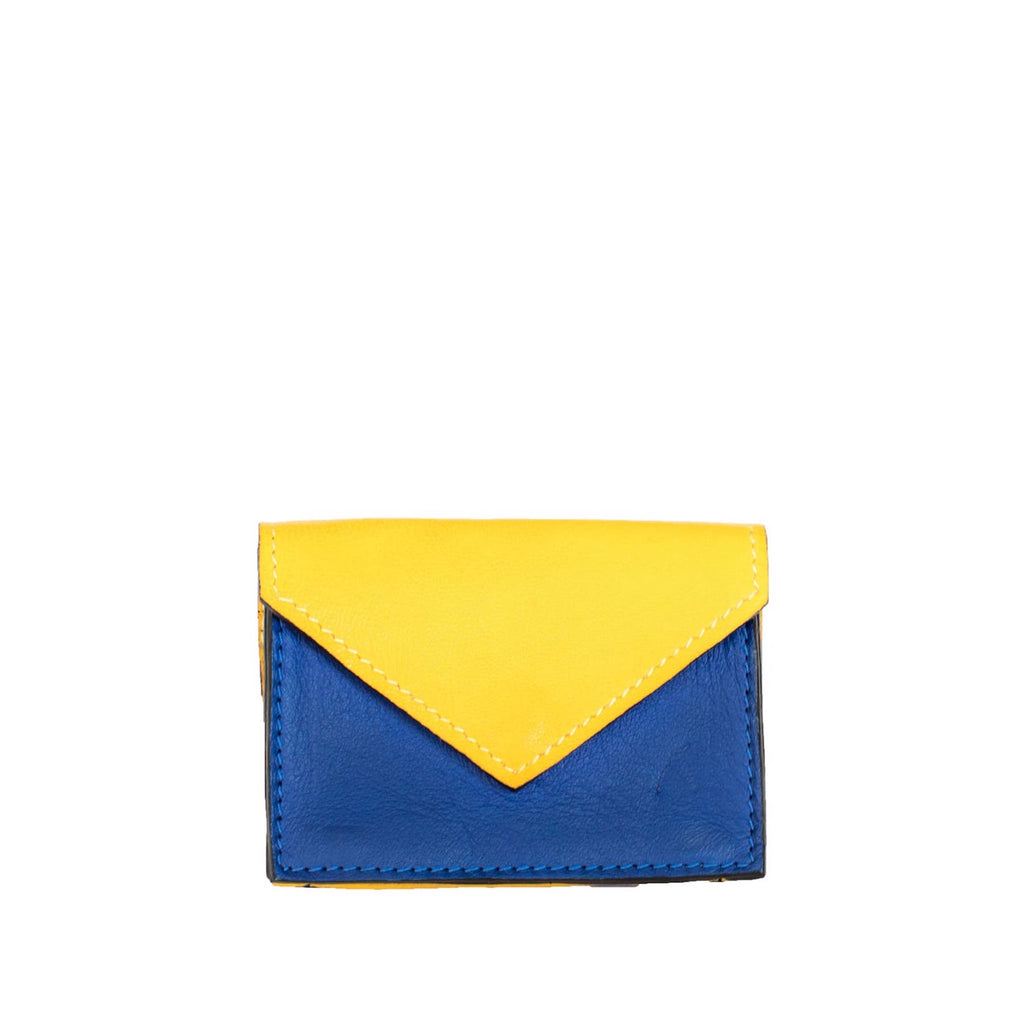 Front View Yellow and Blue Leather Card Holder Wallet - Card Holders - ABURY Collection