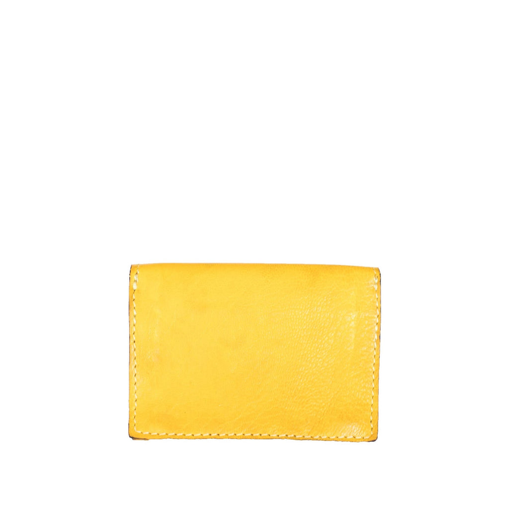 Back View Yellow and Blue Leather Card Holder Wallet - Card Holders - ABURY Collection