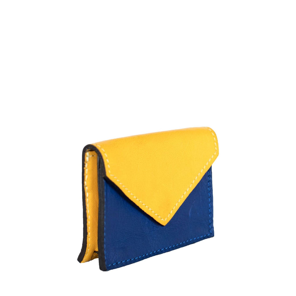 Side View Yellow and Blue Leather Card Holder Wallet - Card Holders - ABURY Collection