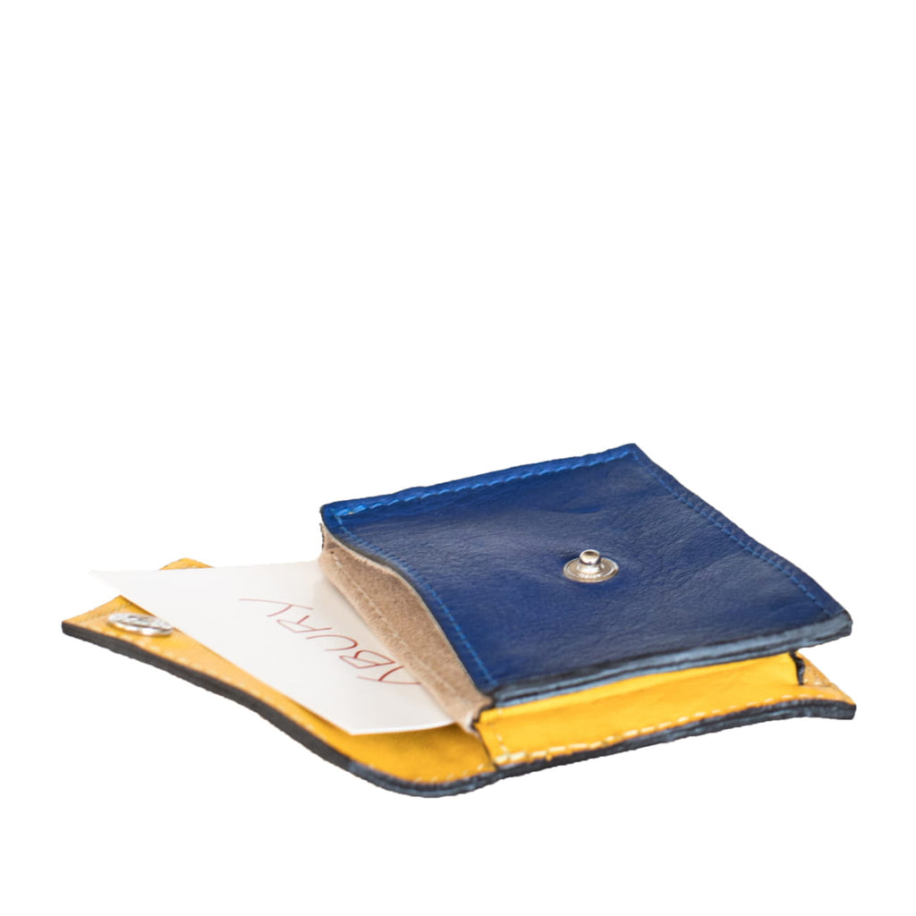Open View Yellow and Blue Leather Card Holder Wallet with ABURY card- Card Holders - ABURY Collection