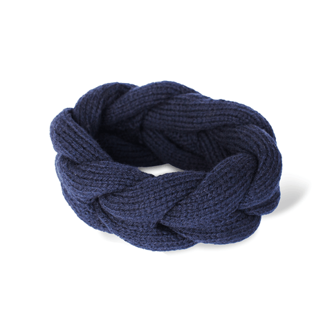 Hand-knitted Wool Beanie in Navy Blue