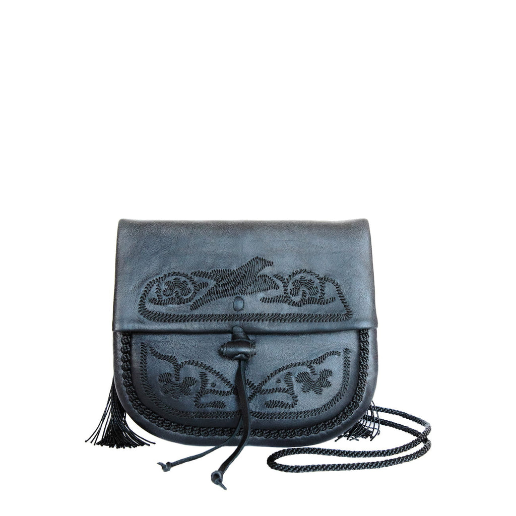 front view black leather mini crossbody bag
