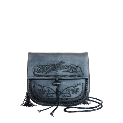 Embroidered Leather Berber Bag in White, Black