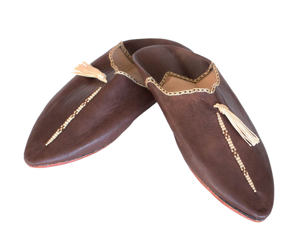 Brown and Beige Hard Sole Babouche Leather Slippers