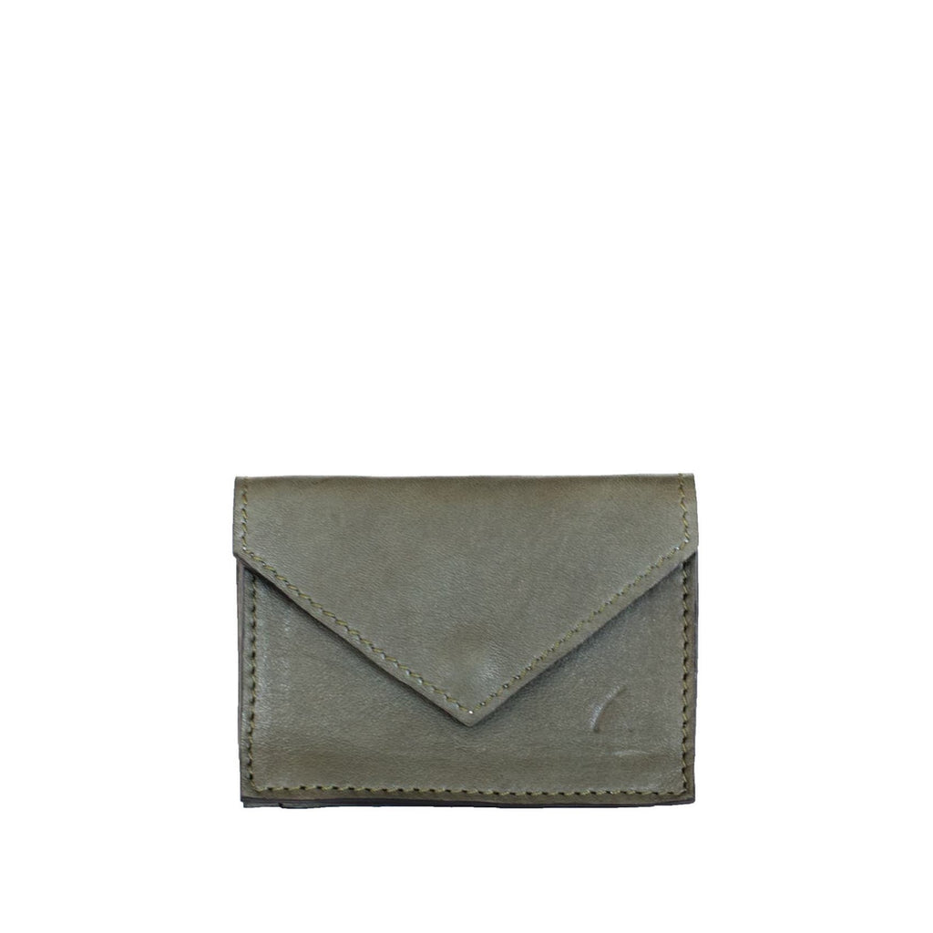 Front View Grey Leather Card Holder Wallet - Card Holders - ABURY Collection