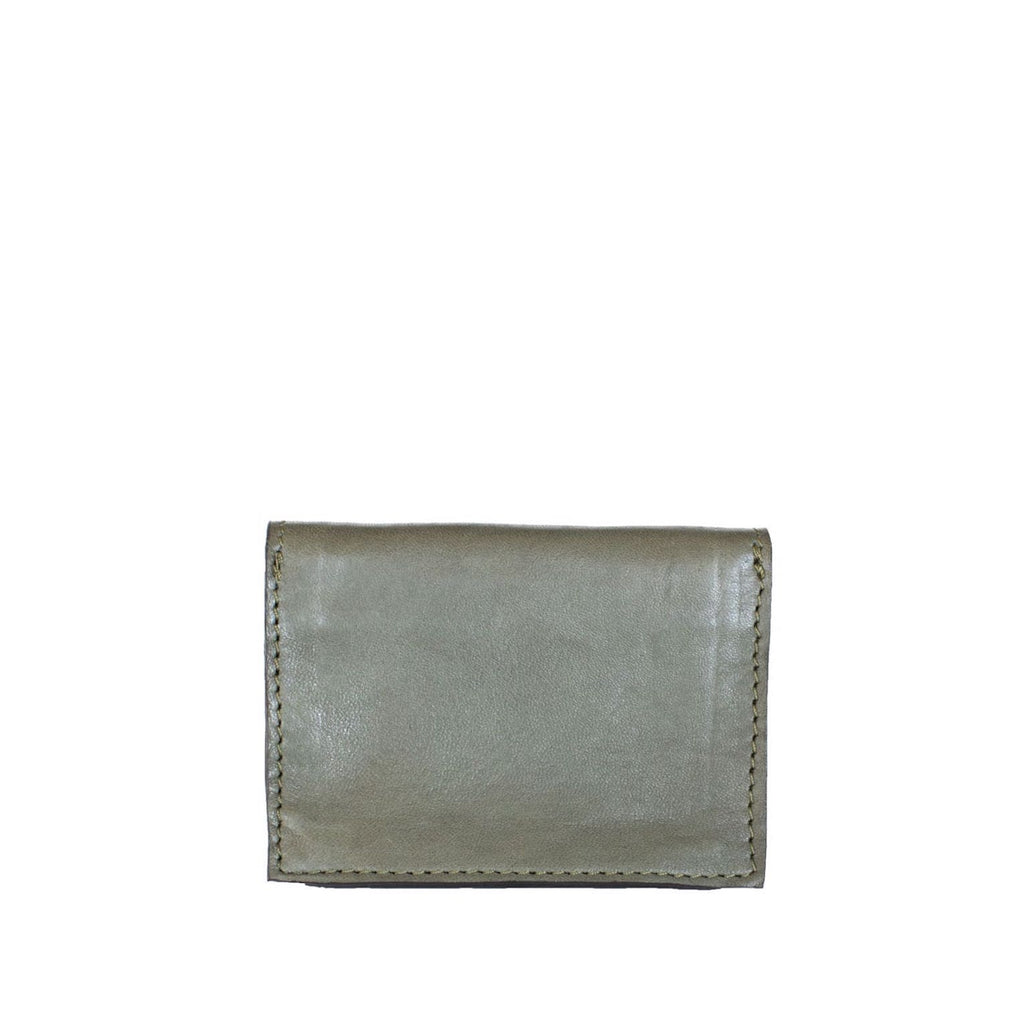 Back View Grey Leather Card Holder Wallet - Card Holders - ABURY Collection