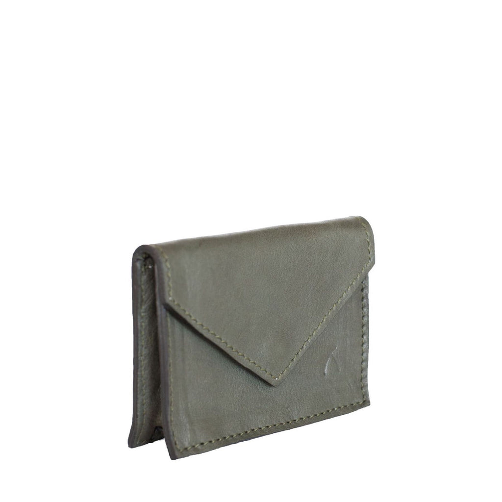 Side View Grey Leather Card Holder Wallet - Card Holders - ABURY Collection