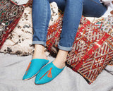 Turquoise and Orange Babouche Leather Slippers