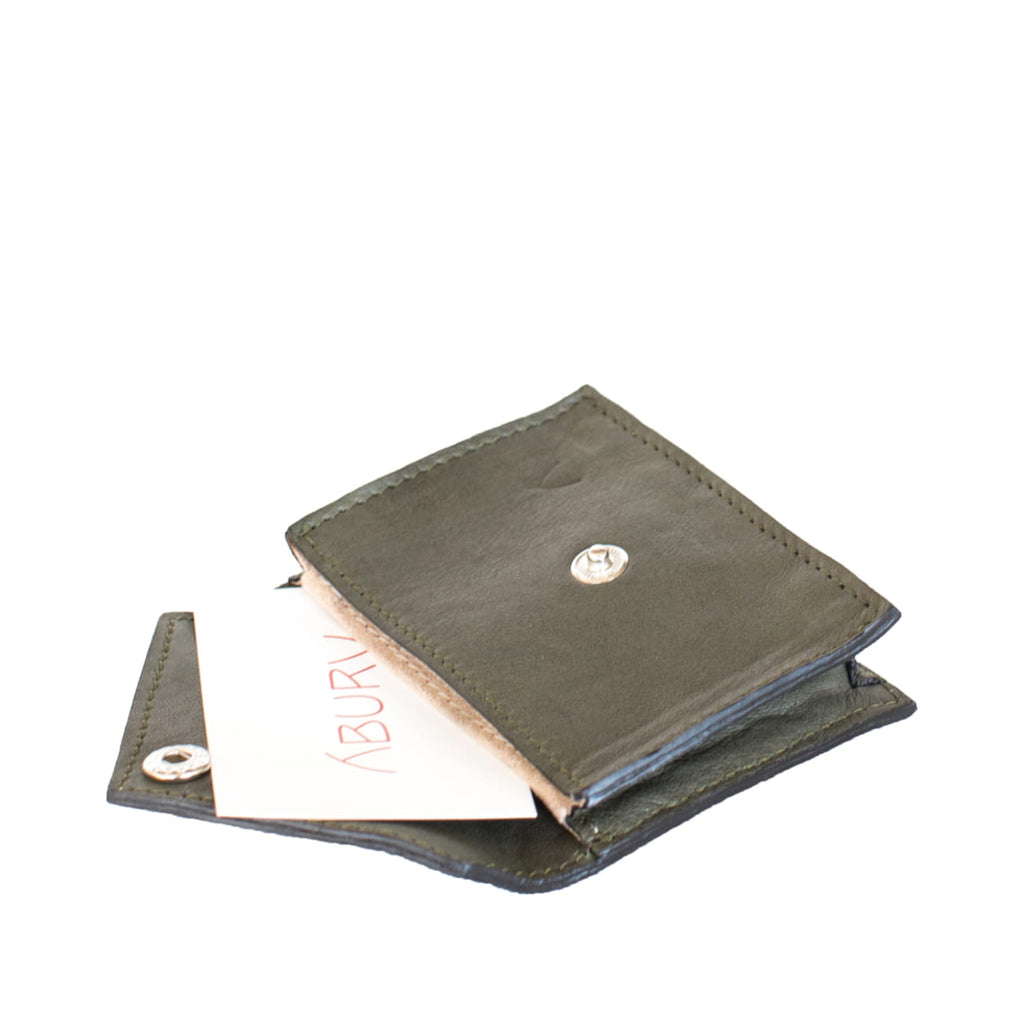 Open View Grey Leather Card Holder Wallet with ABURY card - Card Holders - ABURY Collection