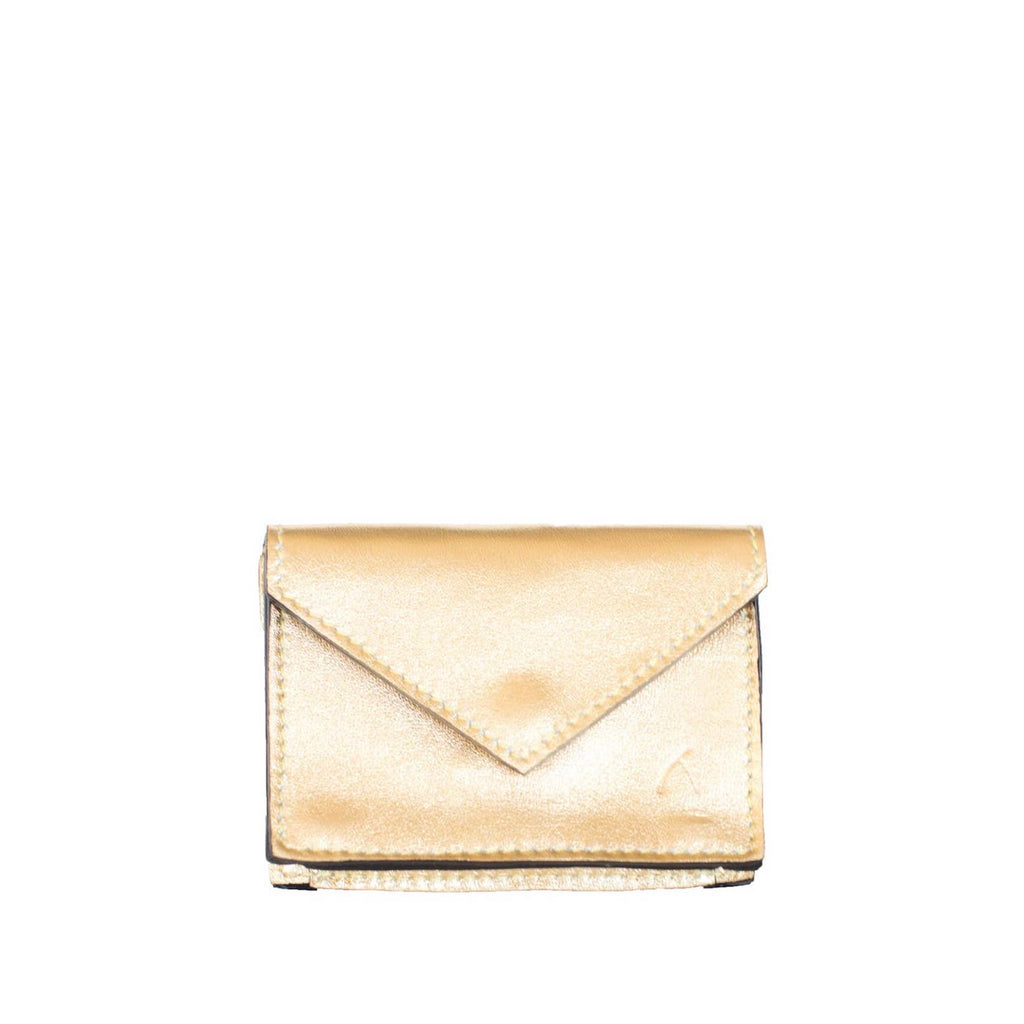 Front View Gold Leather Card Holder Wallet - Card Holders - ABURY Collection