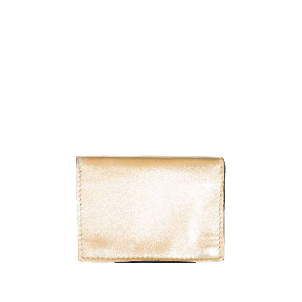 Back View Gold Leather Card Holder Wallet - Card Holders - ABURY Collection
