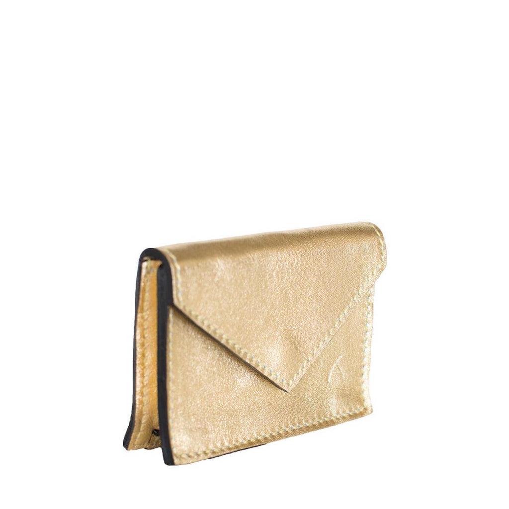Side View Gold Leather Card Holder Wallet - Card Holders - ABURY Collection