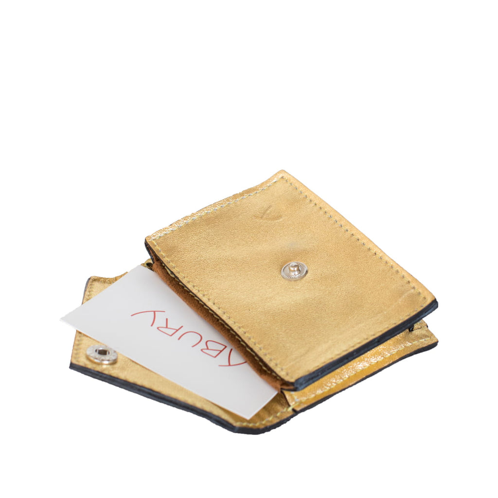 Open View Gold Leather Card Holder Wallet with ABURY card- Card Holders - ABURY Collection