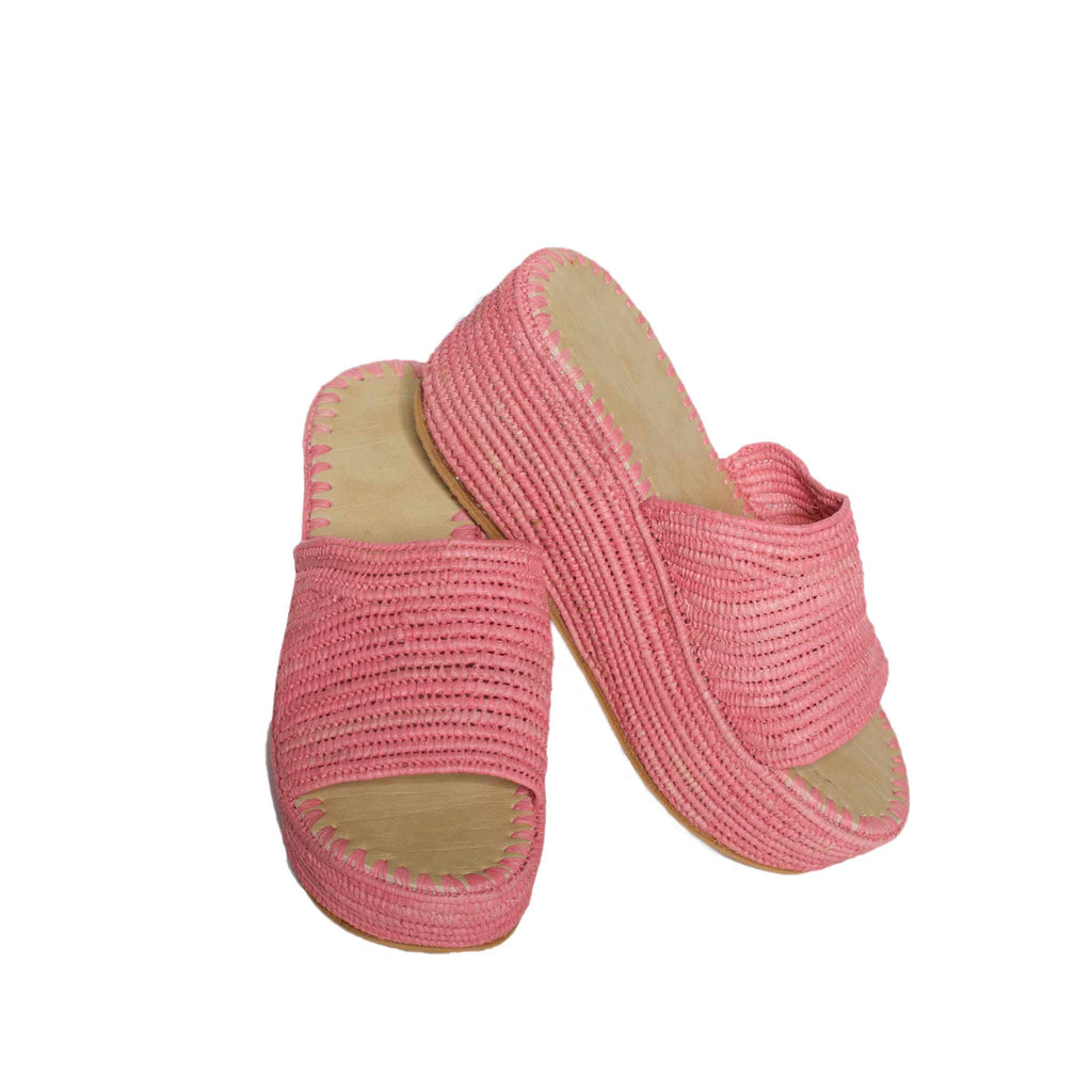 Fairtrade Raffia Plateau Slippers Rosé