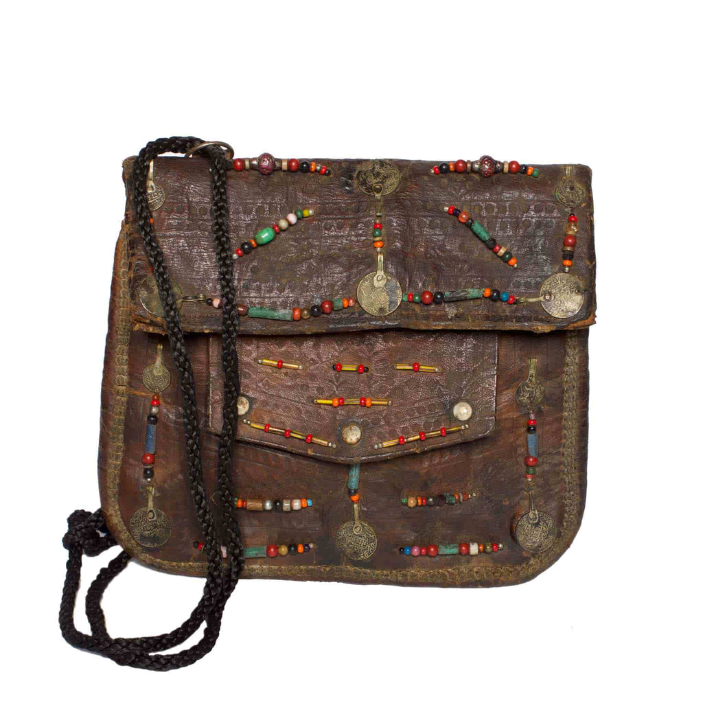 Front view Vintage Leather Berber Bag Amel by ABURY