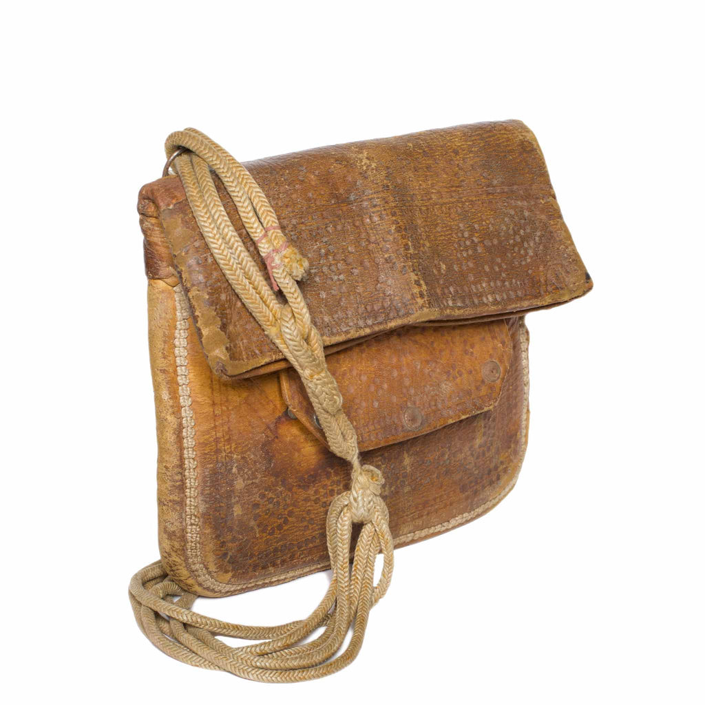 Side view Vintage Leather Berber Bag Arzila by ABURY