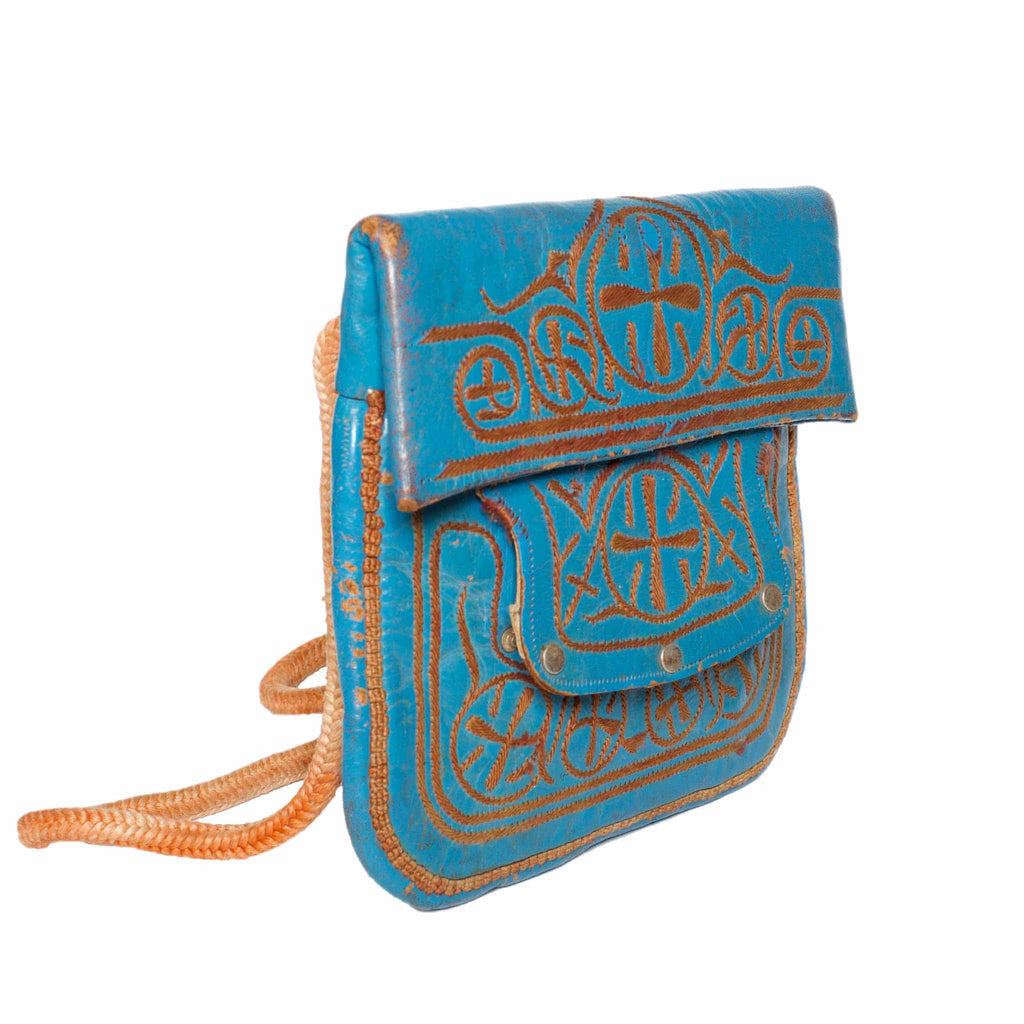 Side view Vintage Leather Berber Bag Zagora by ABURY