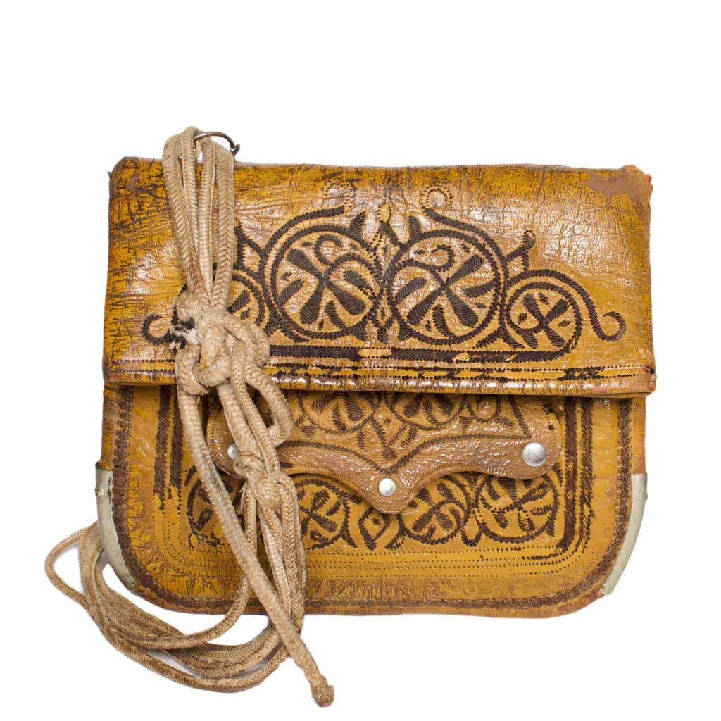 Front view Vintage Leather Berber Bag Hassan by ABURY