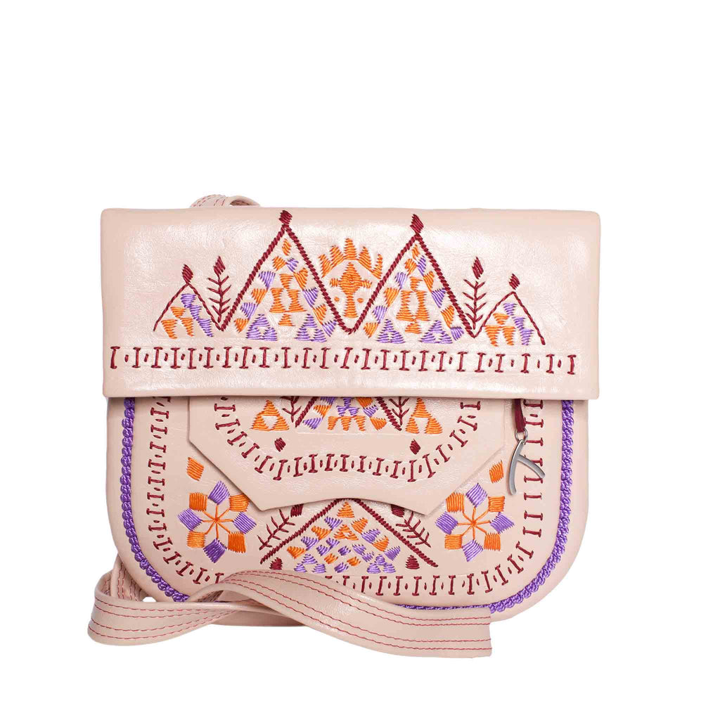 Front view  Embroidered Triangle Leather Berber Bag in Light Rosé by ABURY