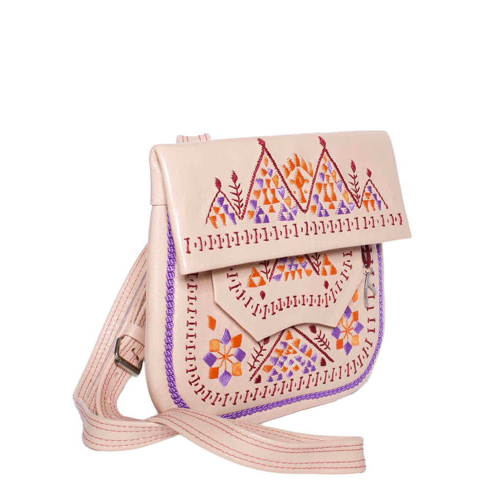 Side view Embroidered Triangle Leather Berber Bag in Light Rosé by ABURY