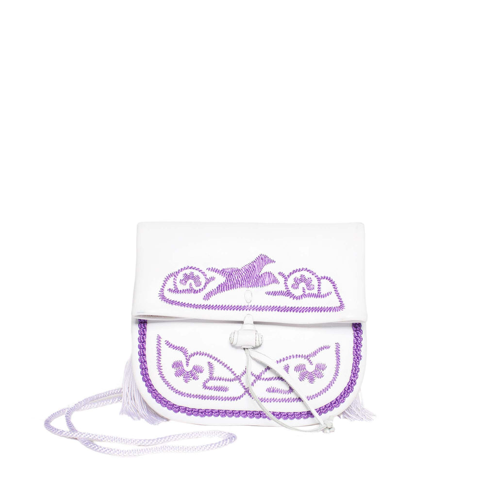 front view white and lilac mini crossbody leather  bag By ABURY