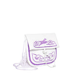 Side view white and lilac mini crossbody leather  bag By ABURY