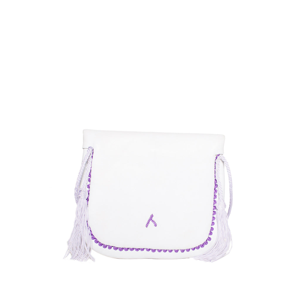 Back view white and lilac mini crossbody leather  bag By ABURY