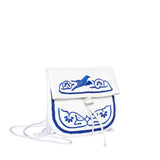 side view white and dark blue leather mini abury berber bag