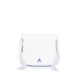 back view white and dark blue leather mini abury berber shoulder bag