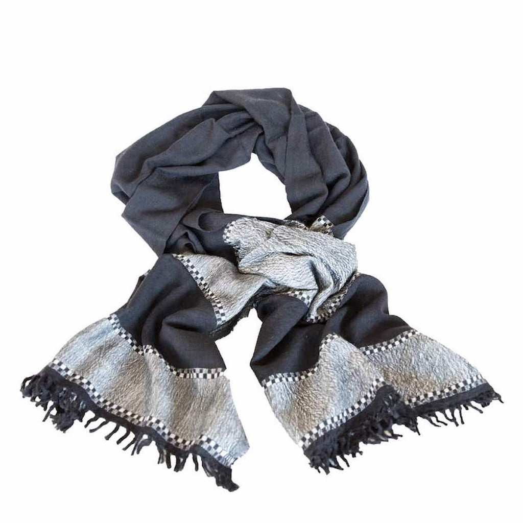 Black and White Wool Scarf by Sabahar