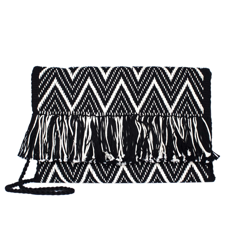 front view Black and White Zig Zag Cotton Clutch