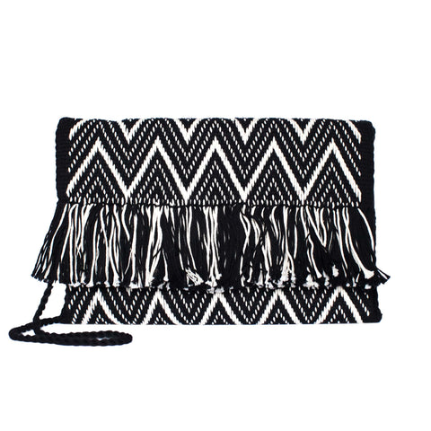 Black Cotton Clutch Bag with White Tassel