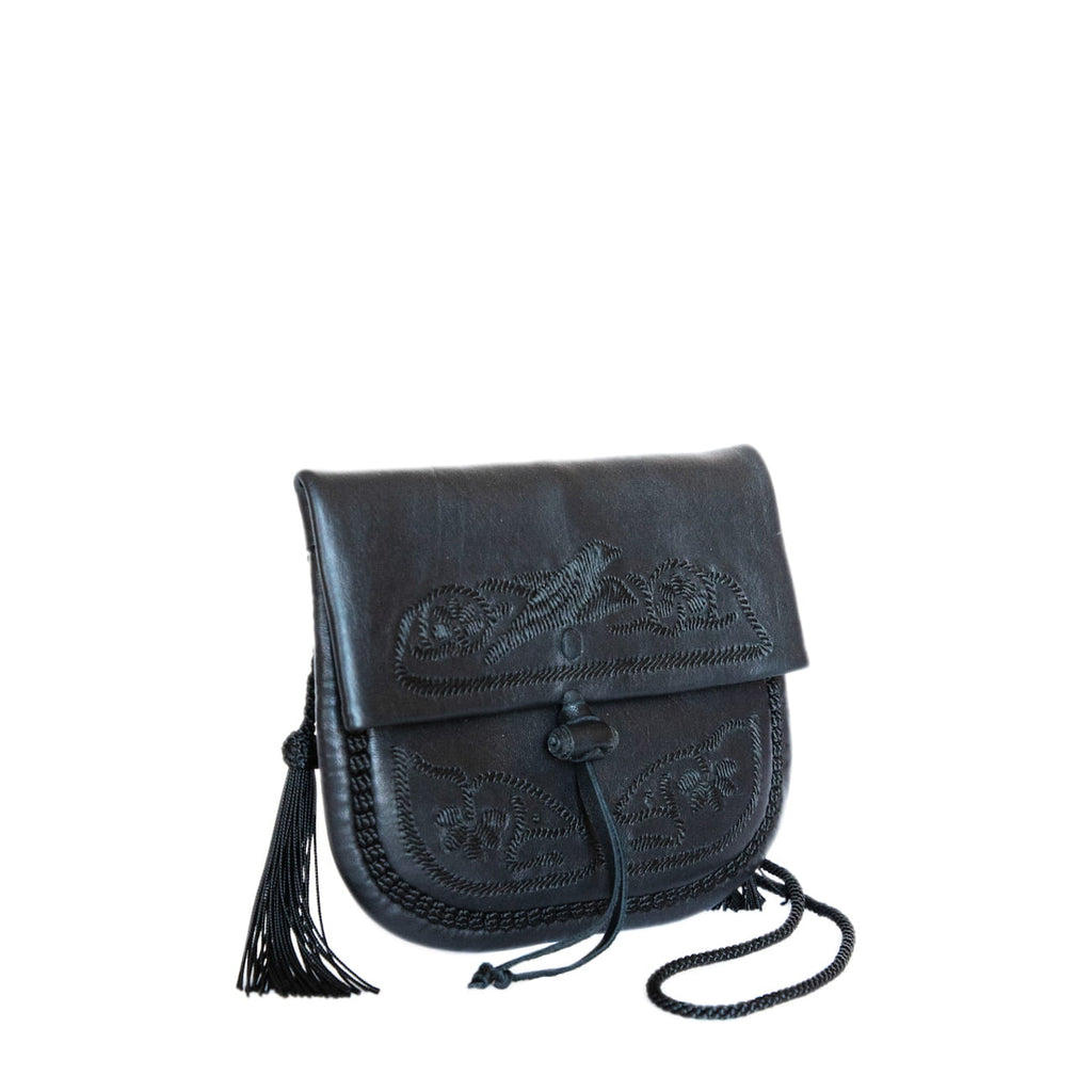 side view black leather mini crossbody bag