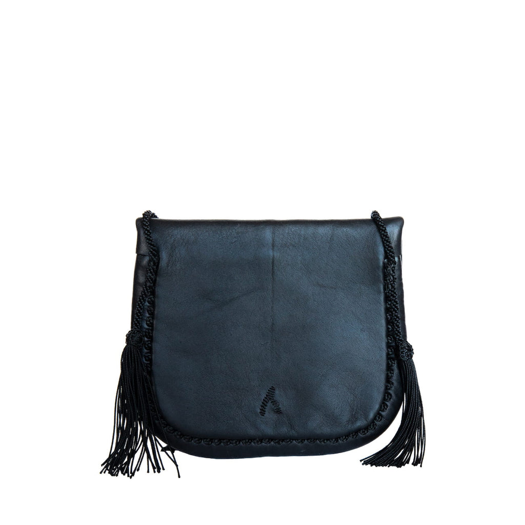 back view black leather mini crossbody bag