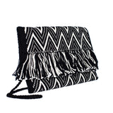 side view Black and White Zig Zag Cotton Clutch