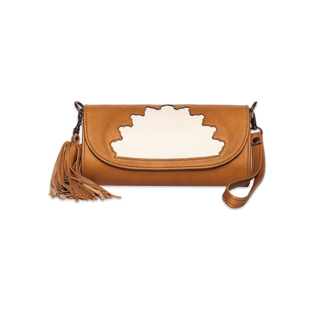 Rehana Camel Leather Clutch Bag front shot