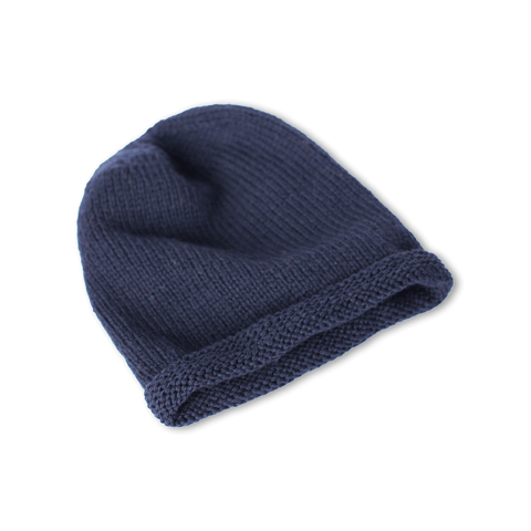 Hand-knitted Wool Headband in Navy Blue