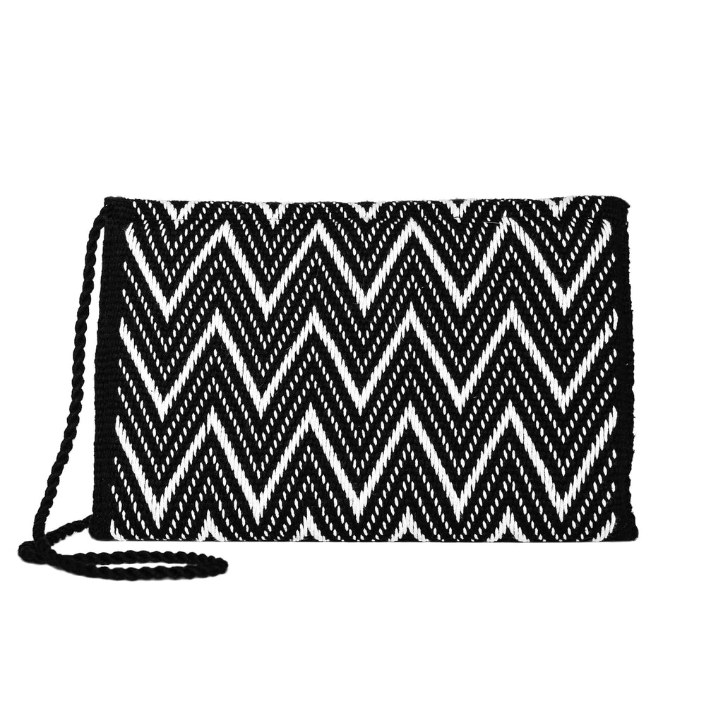 Black and White Zig Zag Cotton Clutch